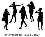 girls silhouettes talking on... | Shutterstock .eps vector #218621524