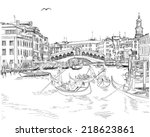 venice   grand canal. view of... | Shutterstock .eps vector #218623861