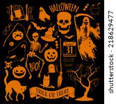 vector halloween decoration set ... | Shutterstock .eps vector #218629477