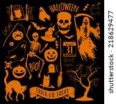 vector halloween decoration set ... | Shutterstock .eps vector #218629477