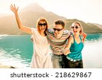 happy friends having fun... | Shutterstock . vector #218629867