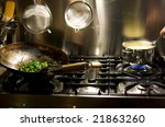 gasoven with wok and spinach... | Shutterstock . vector #21863260