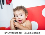 babies' first birthday one year ... | Shutterstock . vector #218635585