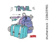 travel color vector suitcases... | Shutterstock .eps vector #218635981