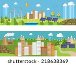 set of environment and  ecology ... | Shutterstock .eps vector #218638369