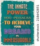 retro vintage motivational... | Shutterstock . vector #218642851