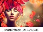 autumn woman fashion portrait.... | Shutterstock . vector #218643931