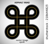 asphalt road black color with... | Shutterstock .eps vector #218644825