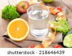 glass of water with vegetables... | Shutterstock . vector #218646439