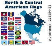 north and central american flag ... | Shutterstock .eps vector #218654455