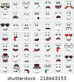 set of 49 cartoon faces with...