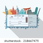 airplane travel ticket with... | Shutterstock .eps vector #218667475