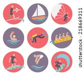 water sports flat icons set... | Shutterstock .eps vector #218669311
