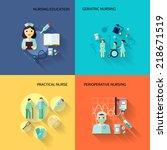 nurse education geriatric... | Shutterstock .eps vector #218671519