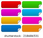 horizontal stickers with sewing ... | Shutterstock .eps vector #218686531