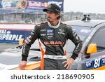 Small photo of SAN PEDRO, CA - SEP 20: Bucky Laser rally driver at the Red Bull GRC Global Ralleycross in San Pedro, CA on September 20, 2014