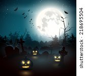 scary graveyard in the woods .... | Shutterstock .eps vector #218695504