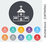 church. single flat icon on the ... | Shutterstock .eps vector #218704561