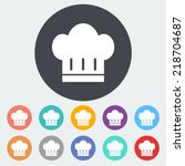 chef hat. single flat icon on... | Shutterstock .eps vector #218704687