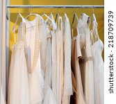a few beautiful wedding dresses ... | Shutterstock . vector #218709739