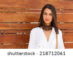 beautiful young woman in a... | Shutterstock . vector #218712061