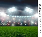 soccer ball on green stadium... | Shutterstock . vector #218713351