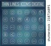 thin line digital gadget set...