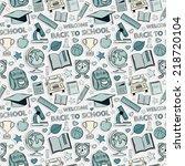 sticker school pattern. themed... | Shutterstock .eps vector #218720104