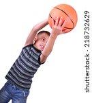 caucasian smiling boy ... | Shutterstock . vector #218732629