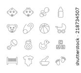 baby line icons. editable | Shutterstock . vector #218734507