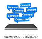 comment and tablet 3d like | Shutterstock . vector #218736097