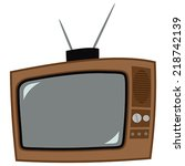 icon of the old television with ... | Shutterstock .eps vector #218742139