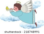 drawing of an angel playing on... | Shutterstock .eps vector #218748991
