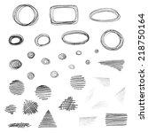 vector set of grunge elements... | Shutterstock .eps vector #218750164