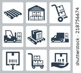 warehouse related vector icons... | Shutterstock .eps vector #218756674