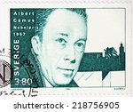 Small photo of SWEDEN - CIRCA 1990: A stamp printed by SWEDEN shows image portrait of famous French-Algerian Nobel Prize winning author, journalist, and philosopher Albert Camus, circa 1990