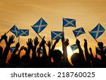 group of people waving scottish ... | Shutterstock . vector #218760025