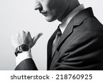 businessman checking the time... | Shutterstock . vector #218760925