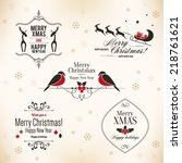 christmas and new year symbols... | Shutterstock .eps vector #218761621