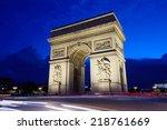 arc de triomphe in paris at... | Shutterstock . vector #218761669
