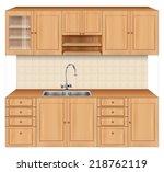 luxury kitchen room interior... | Shutterstock .eps vector #218762119
