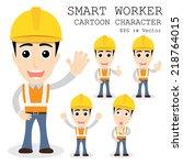 smart worker cartoon character... | Shutterstock .eps vector #218764015