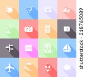 travel flat icons with long... | Shutterstock .eps vector #218765089