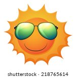 illustration of a sun on a... | Shutterstock .eps vector #218765614