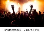 silhouettes of concert crowd in ... | Shutterstock . vector #218767441