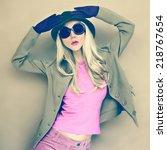 autumn fashion woman in stylish ... | Shutterstock . vector #218767654