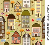 seamless pattern with autumn... | Shutterstock .eps vector #218769049