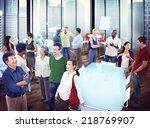multiethnic group of people... | Shutterstock . vector #218769907