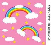 rainbow sky an hearts ion the... | Shutterstock .eps vector #218773231