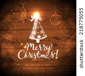 christmas card with hand drawn... | Shutterstock .eps vector #218775055